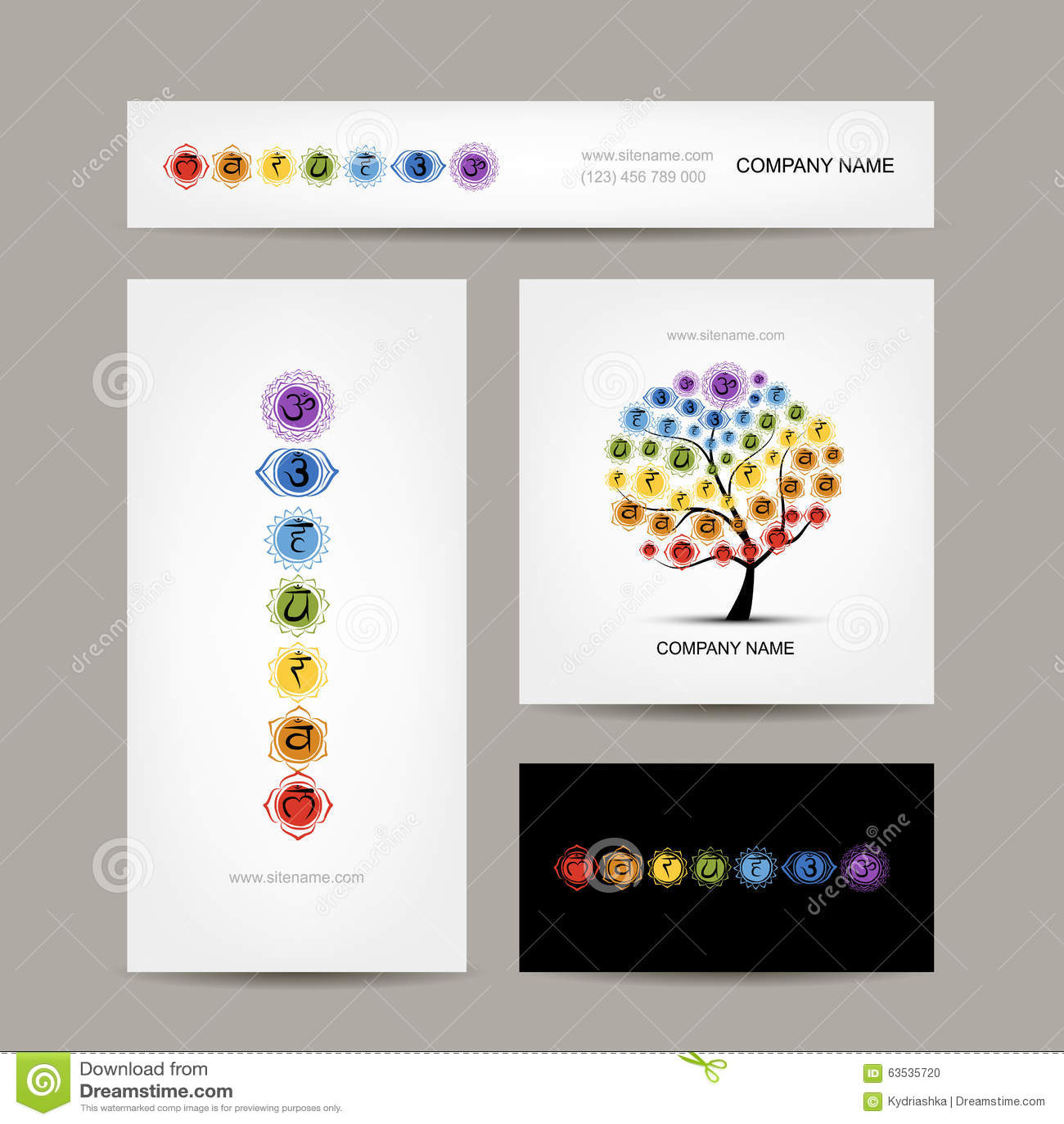 Business Cards Design Seven Main Chakras Stock Vector