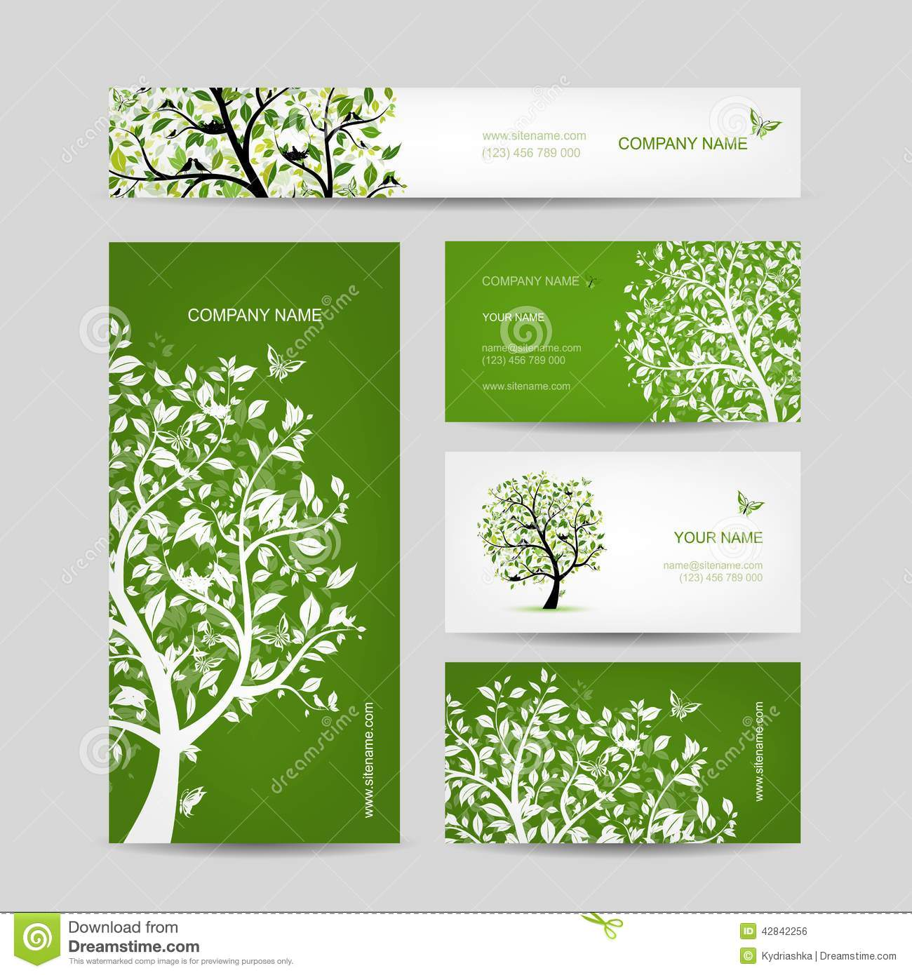 business cards design spring tree with birds - Garden Design Business Cards