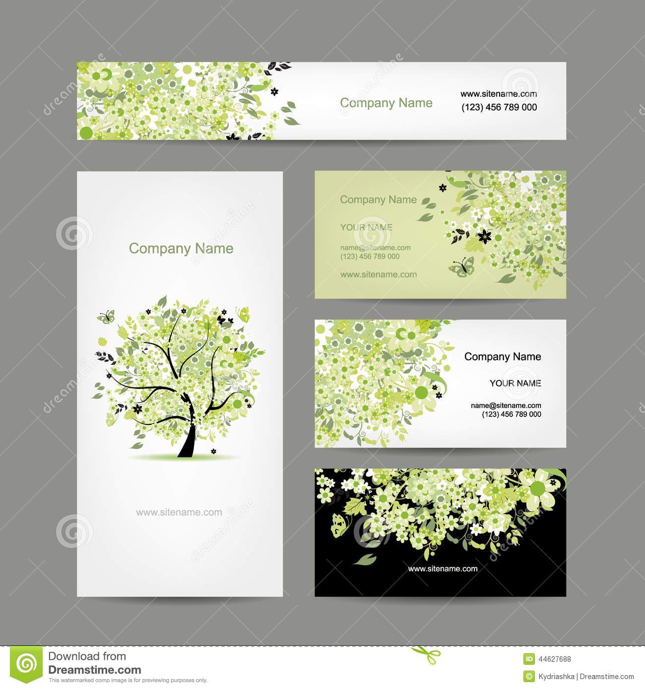 Business cards design spring tree floral stock vector image business cards design spring tree floral magicingreecefo Choice Image