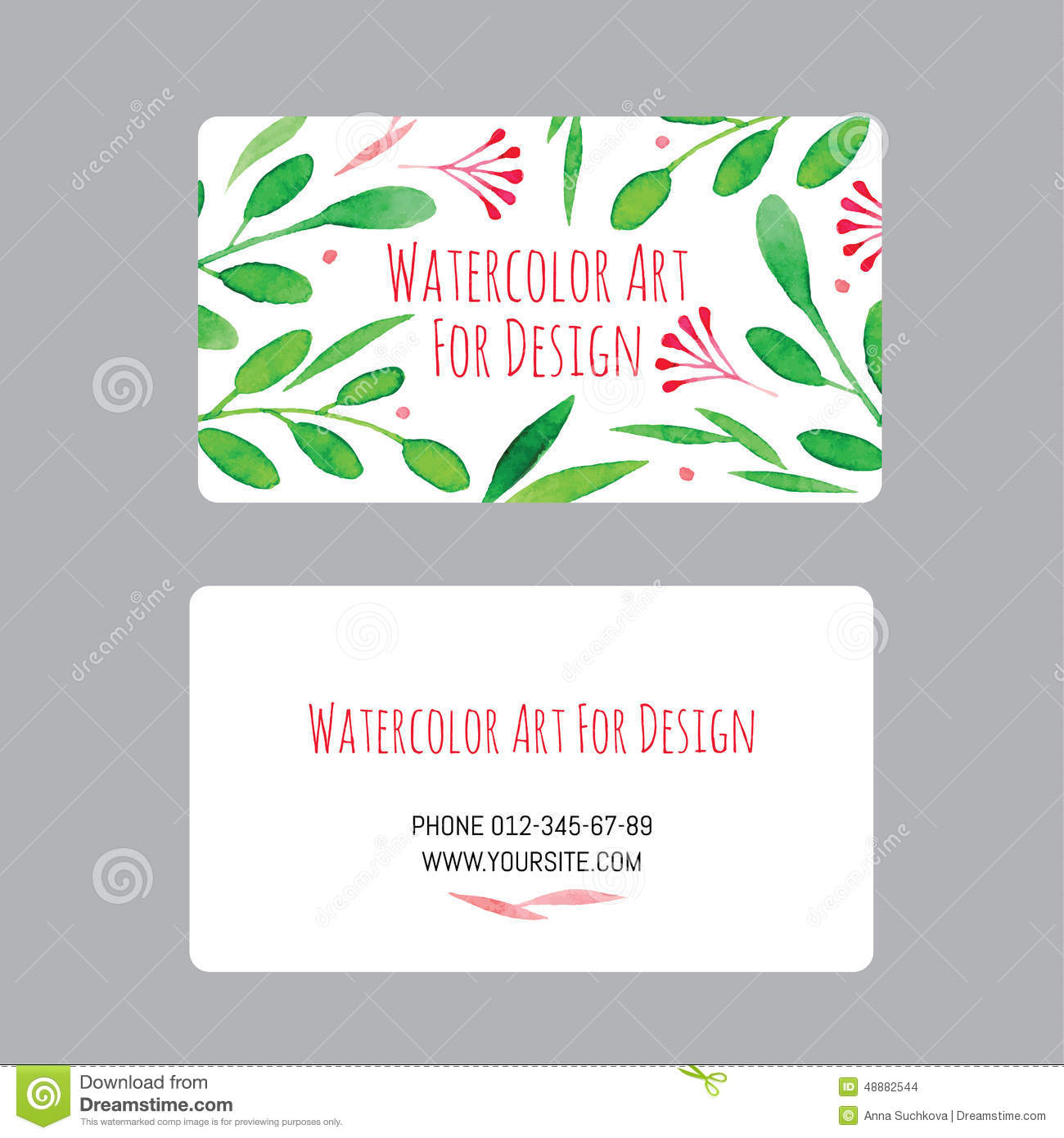 Business cards design template with watercolor drawings of plants business cards design template with watercolor drawings of plants blank card reheart Image collections