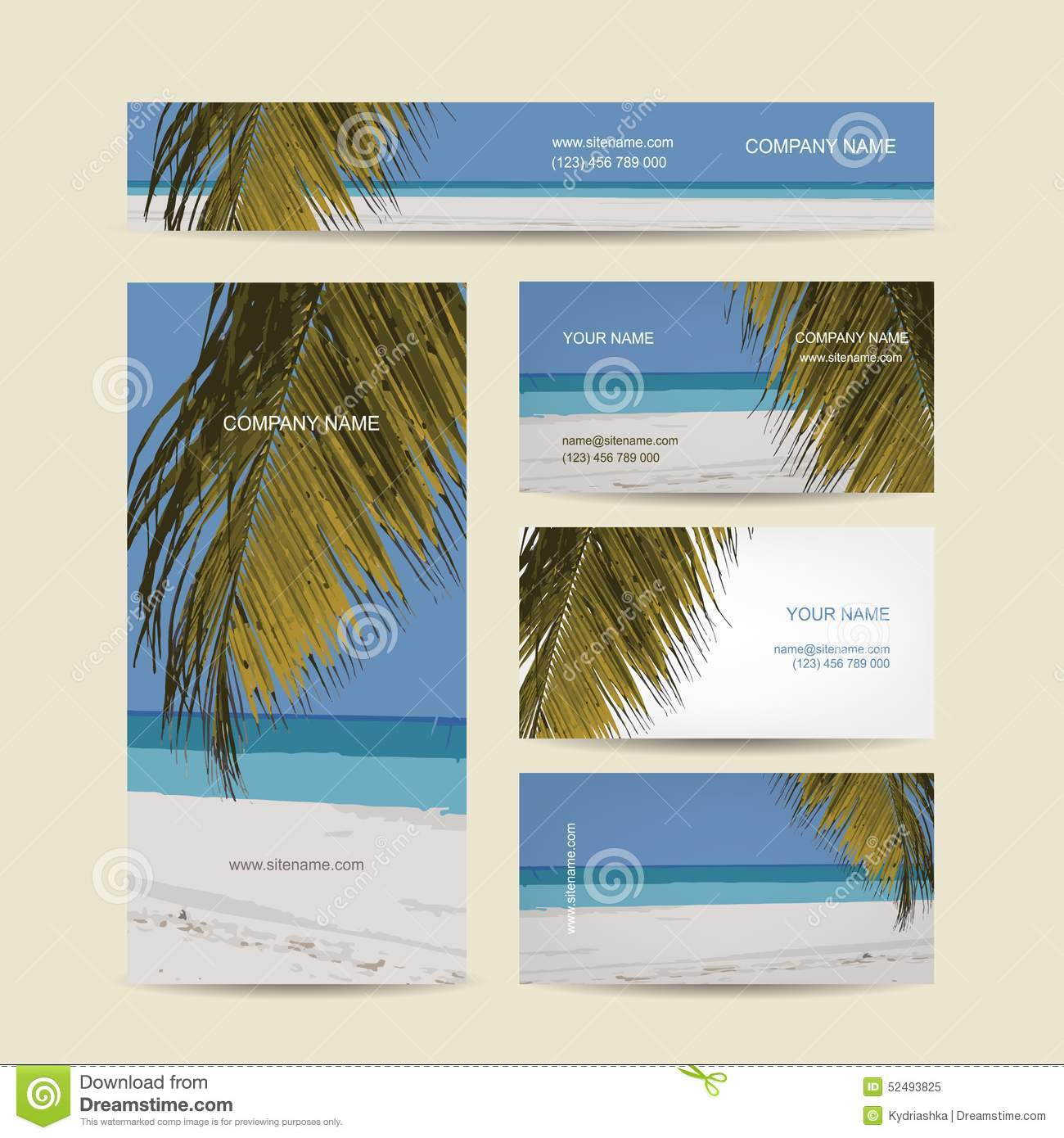 download business cards design tropical island stock vector illustration of ocean poster