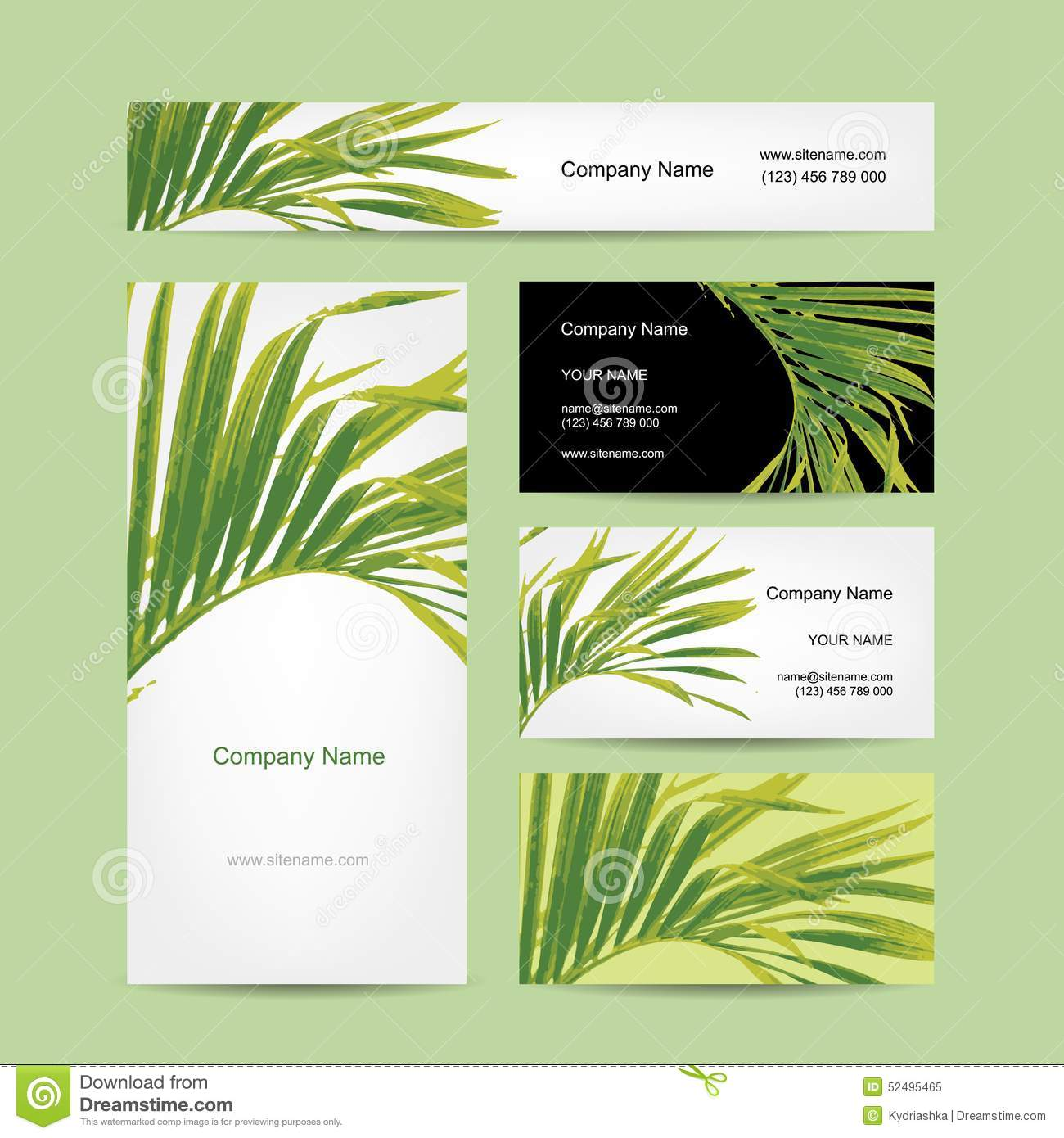 Business Cards Design, Tropical Leaf Stock Vector - Illustration ...