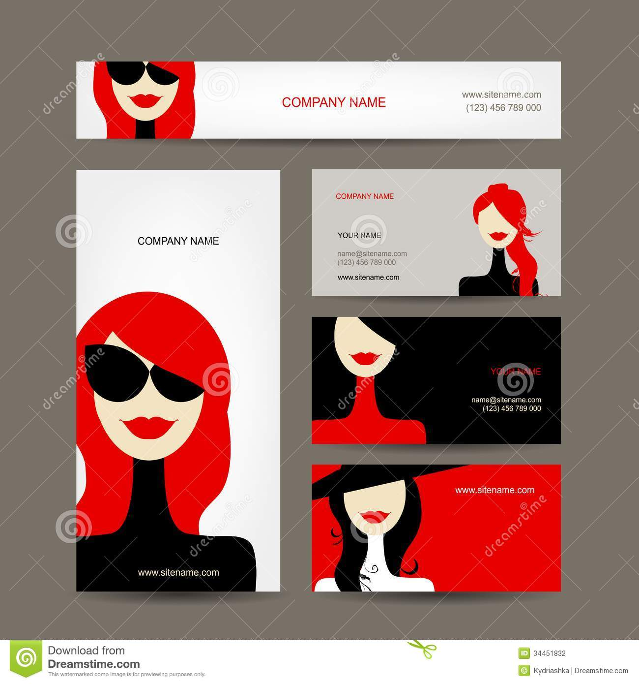 Business Cards Design With Women Faces Stock Vector - Illustration ...