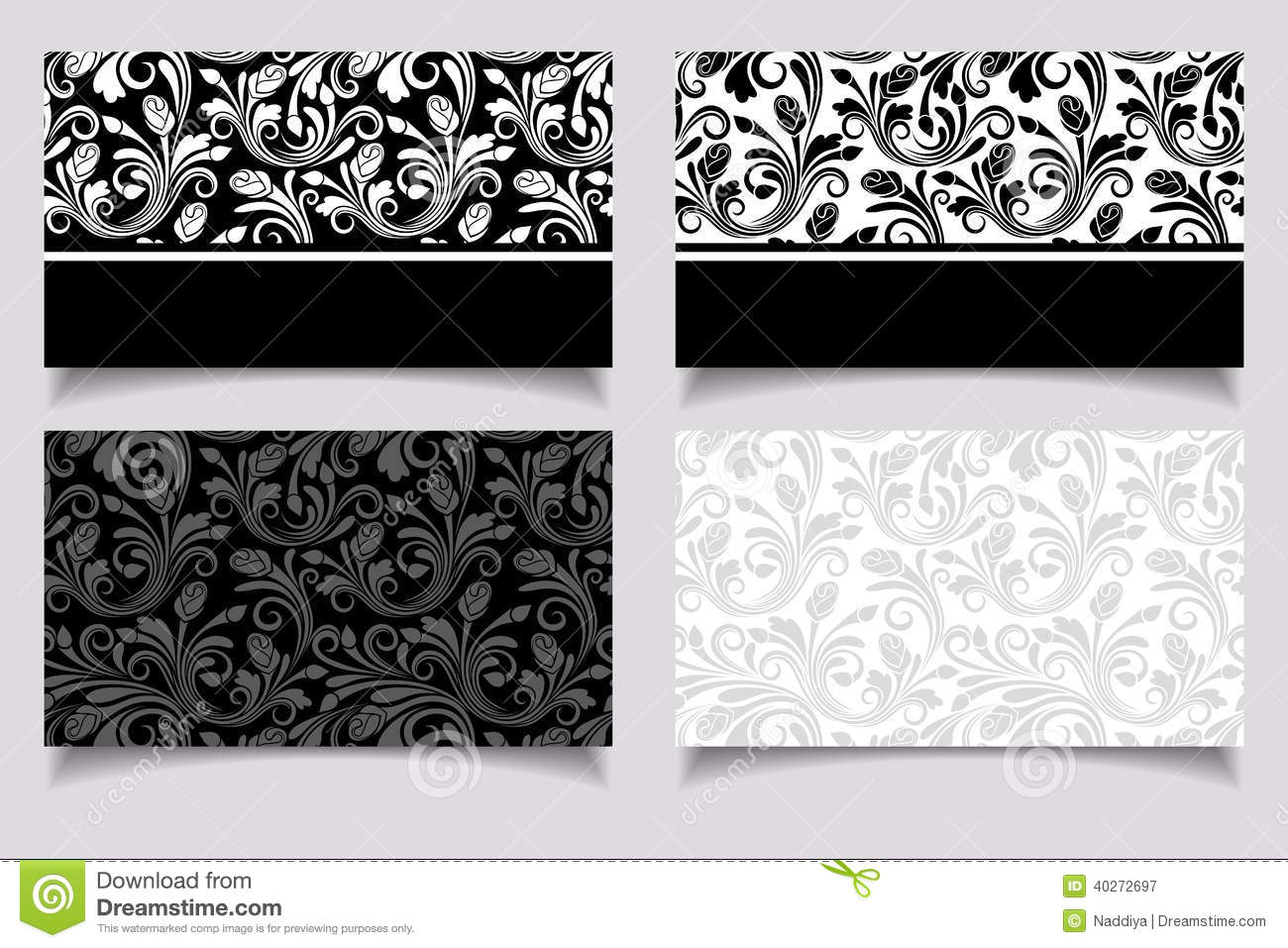 Business Cards With Floral Patterns. Vector EPS-10. Stock ...