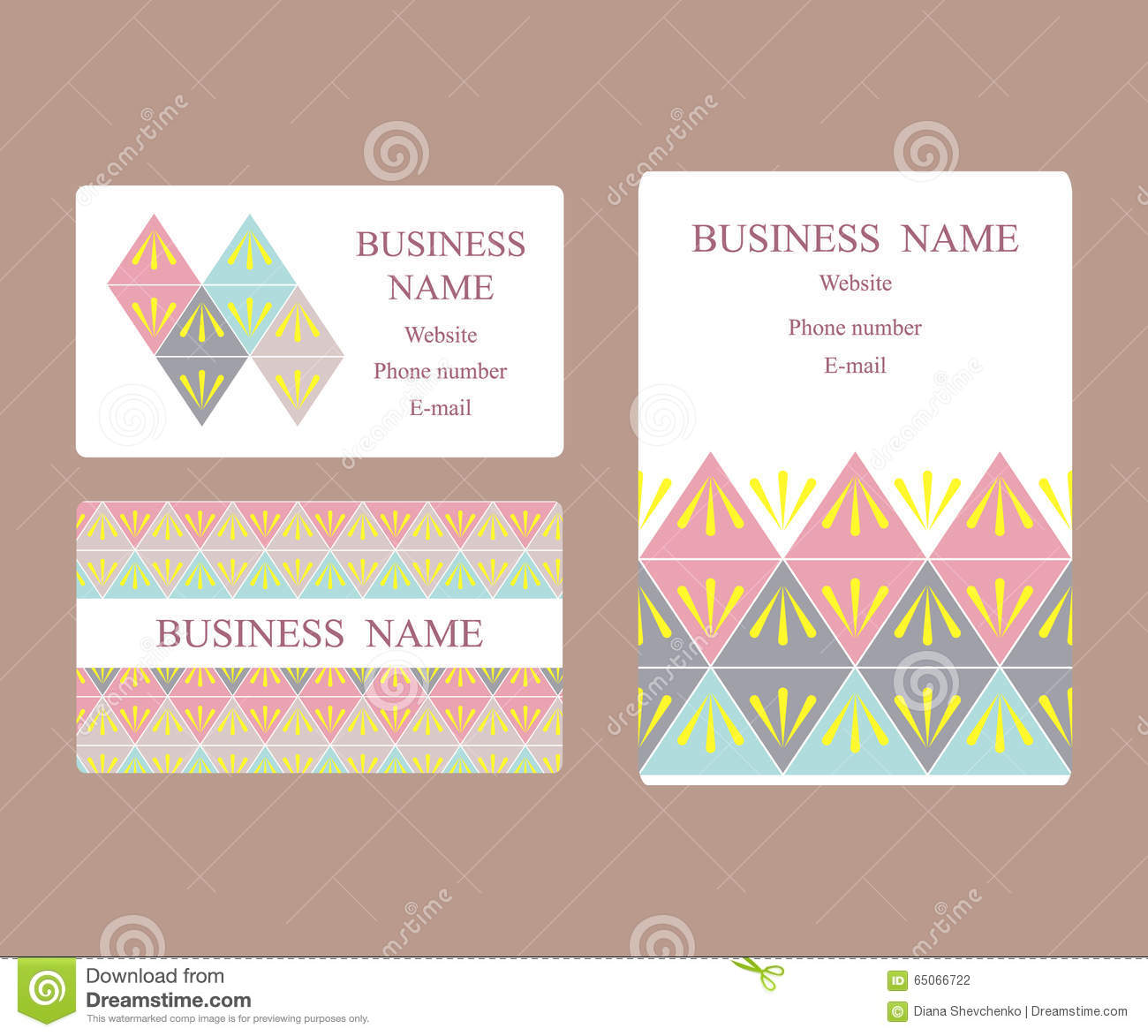 Business Cards And Invitation With Geometric Design Stock ...