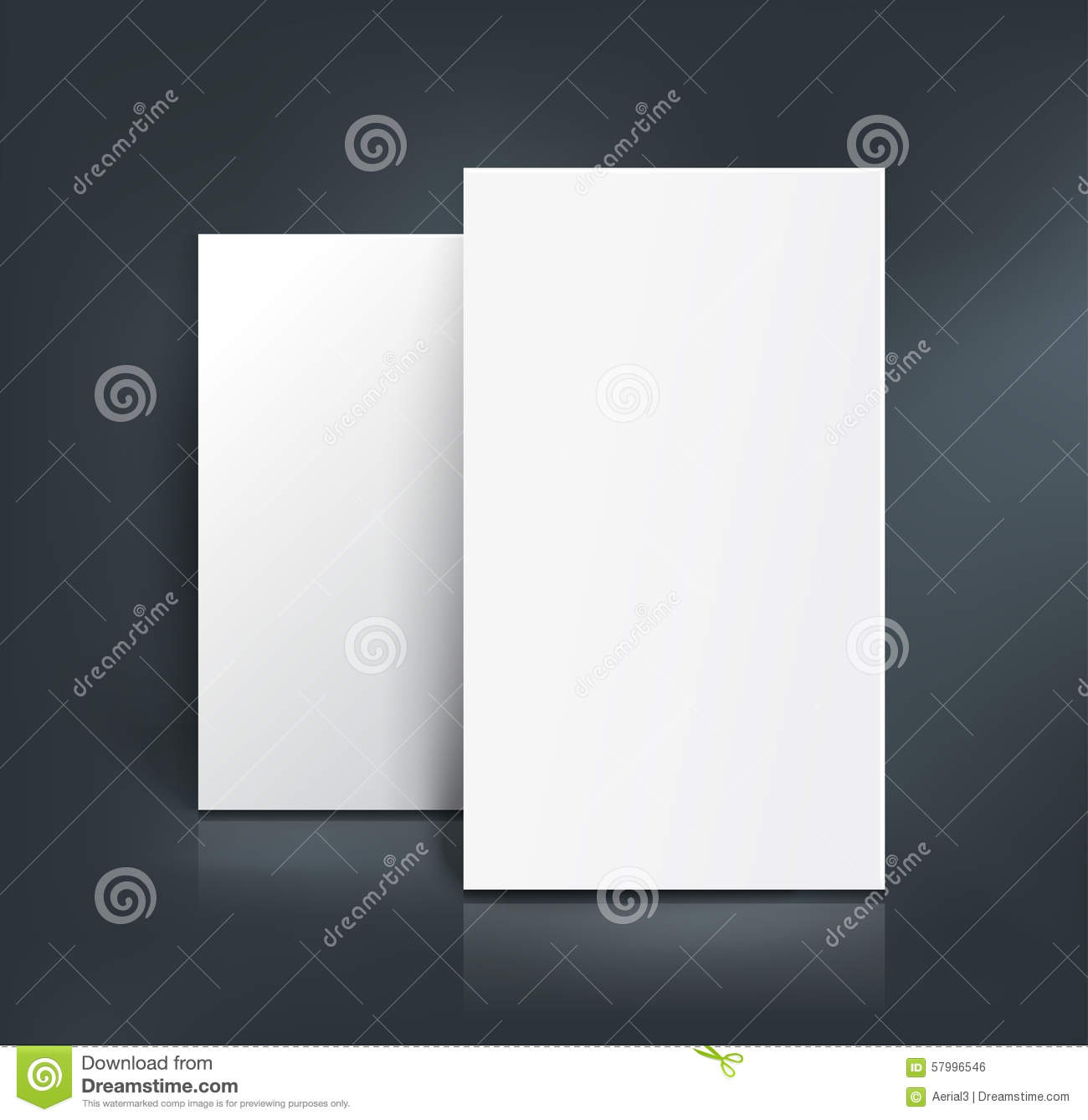 Blank Mockup With Two Paper Sheets And Business Card Stock ...