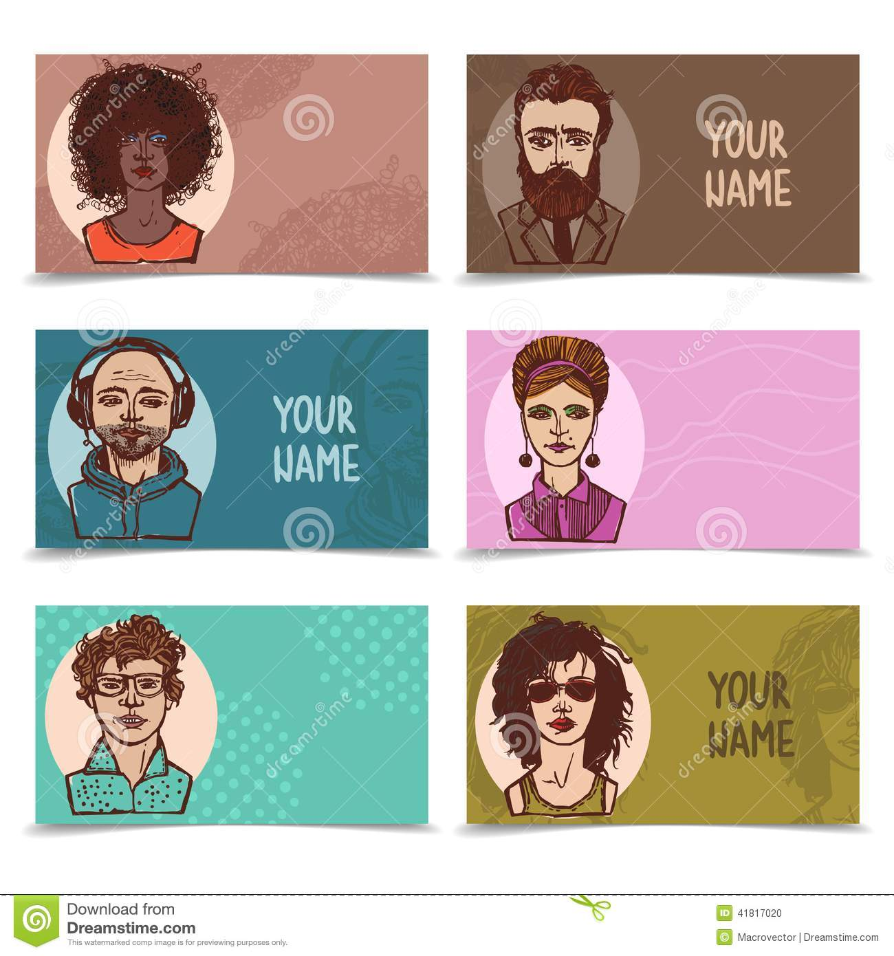 Business Cards With Sketch Faces Stock Vector - Illustration of ...