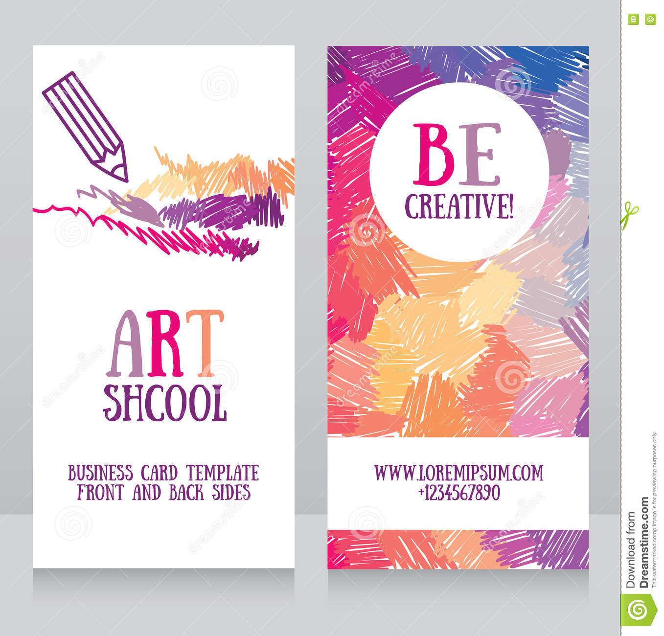 Business Cards Template For Art School Stock Vector - Image: 72479383