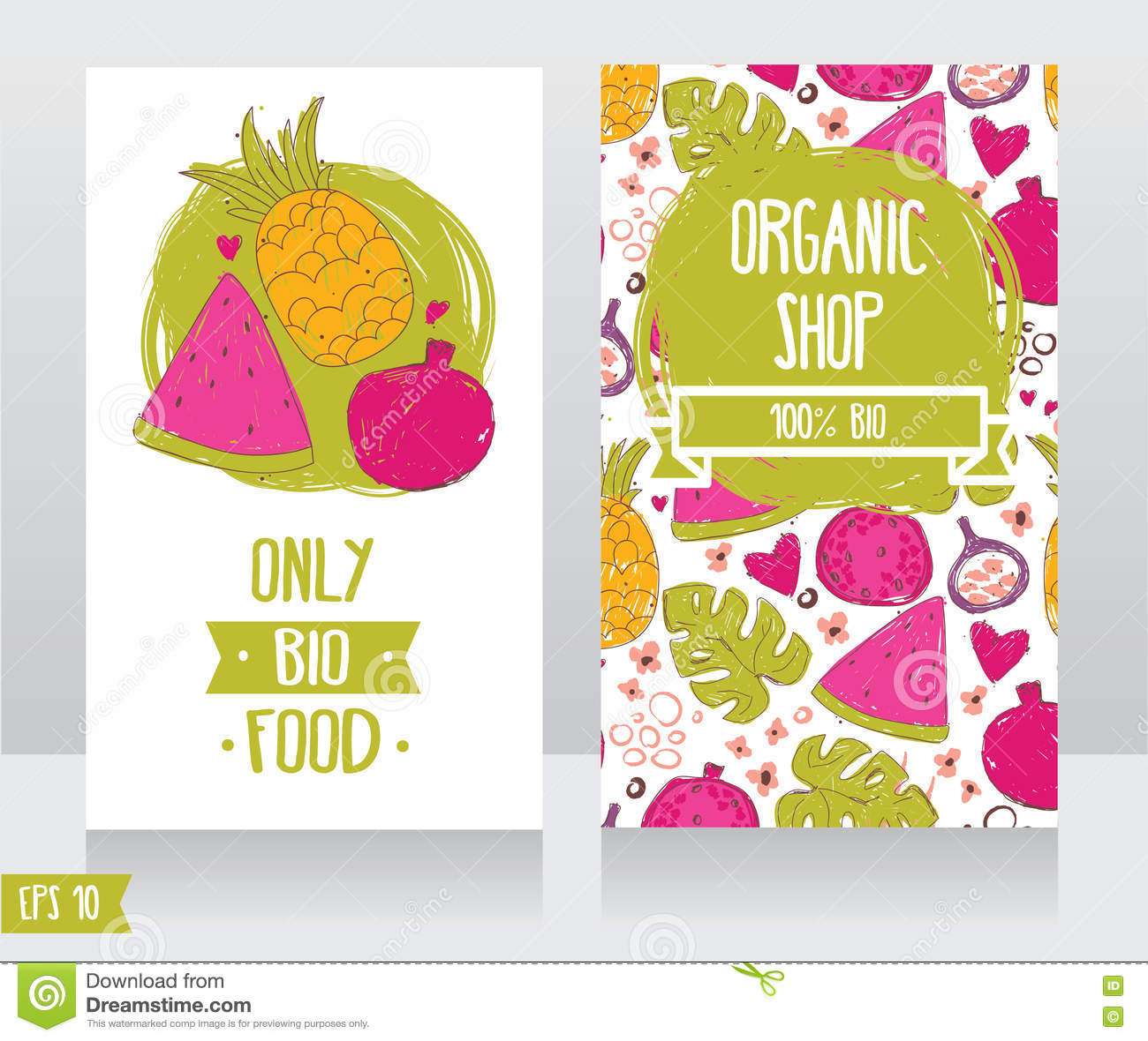 Business cards template for organic foods shop or vegan cafe stock download business cards template for organic foods shop or vegan cafe stock vector illustration of flashek Gallery