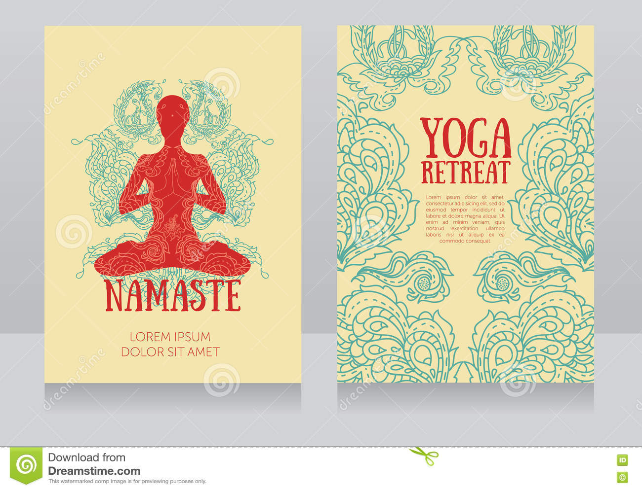 Business Cards Template For Yoga Retreat Or Yoga Studio Stock Vector ...
