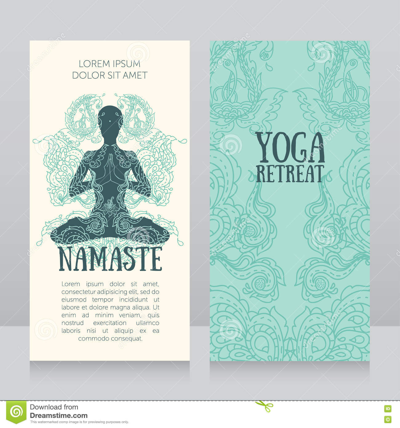Business cards template for yoga retreat or yoga studio stock vector business cards template for yoga retreat or yoga studio design chakra reheart