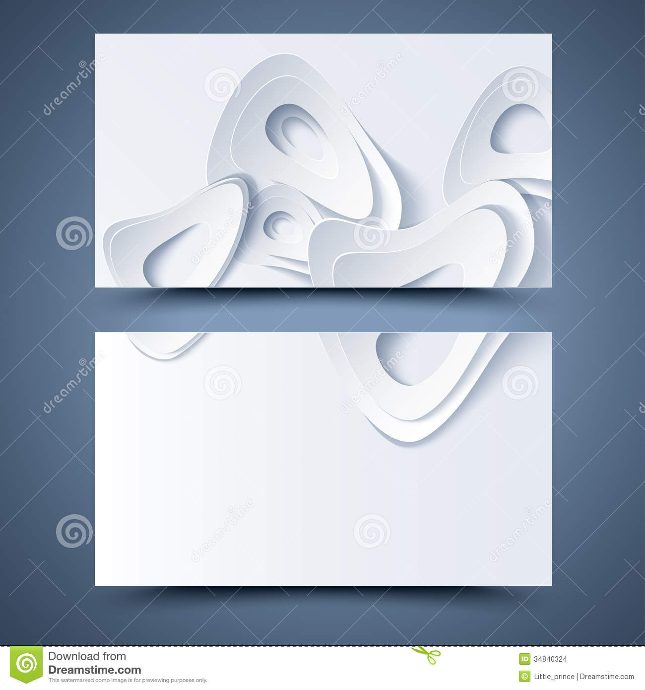 White Business Card Template Abstract Background Stock Illustration - Business card background templates
