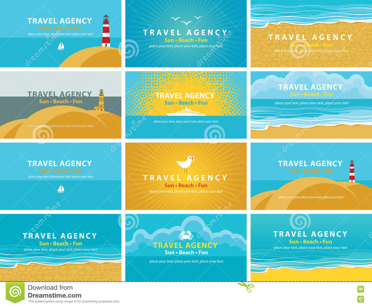 Business Cards For Travel Agency Stock Vector - Image: 73514152