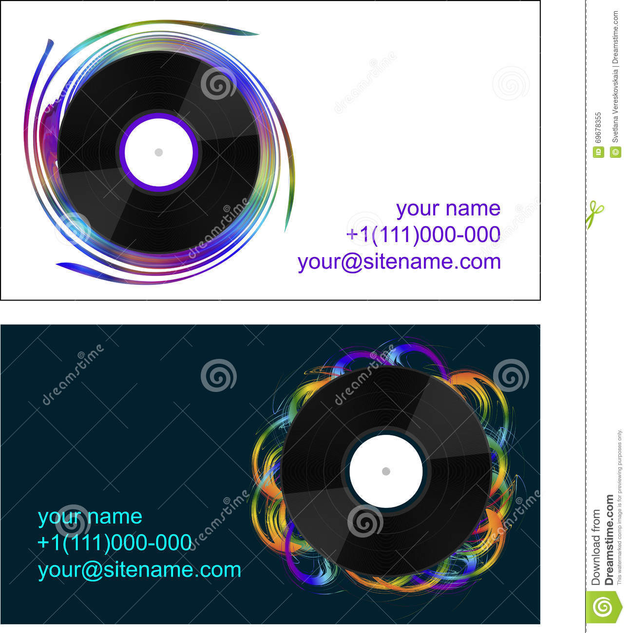 business cards with vinyl records stock image image of equipment