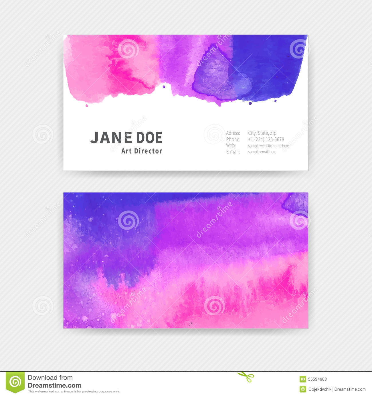 Business Cards Watercolor Stock Vector Illustration Of