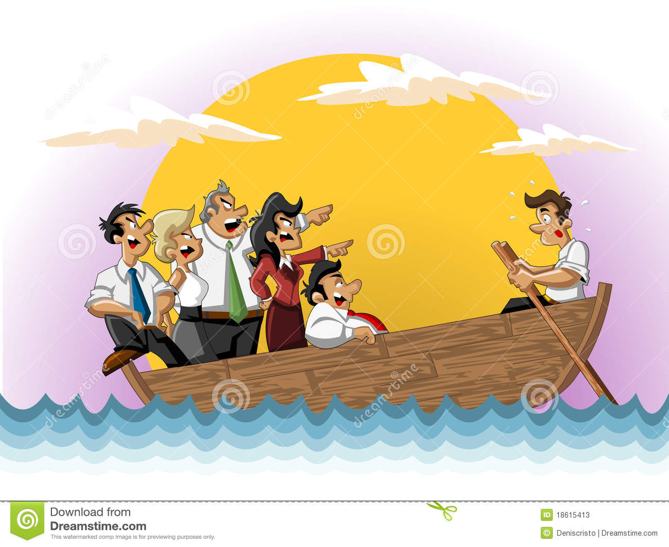 Business Cartoon Team On Boat Stock Photos - Image: 18615413