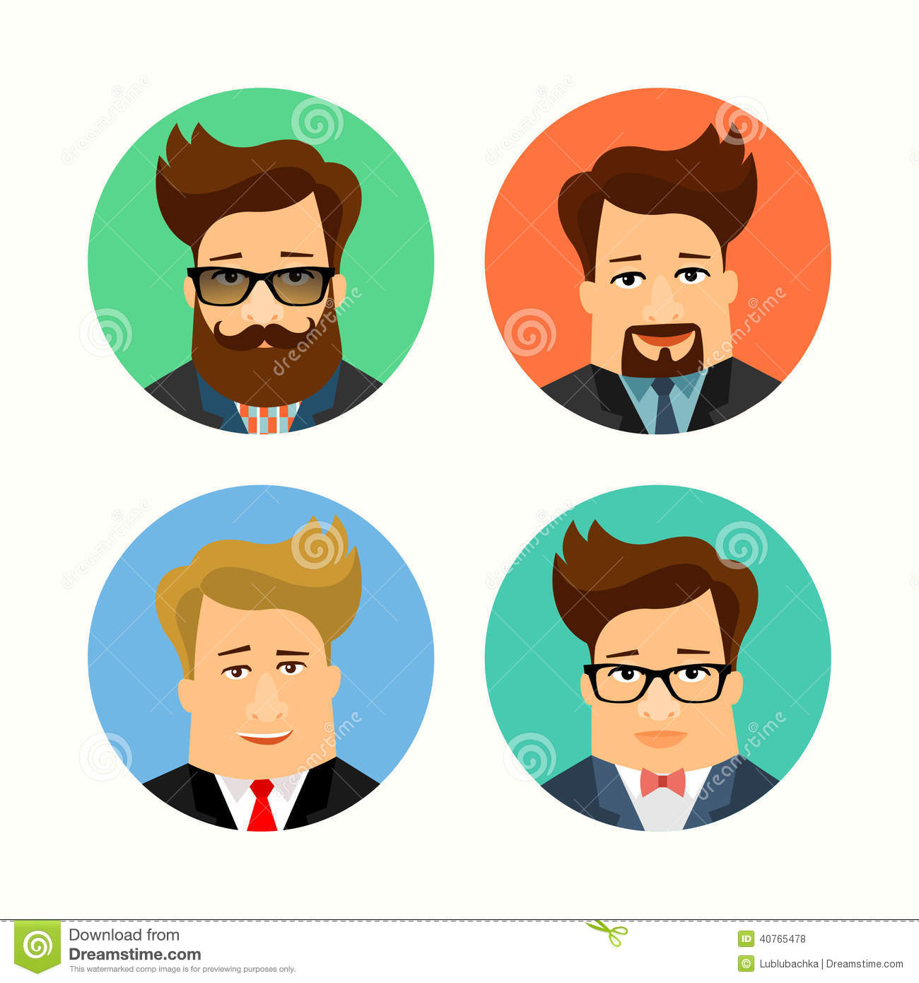 Cartoon Character Design Vector : Business and casual male handsome cartoon characters flat
