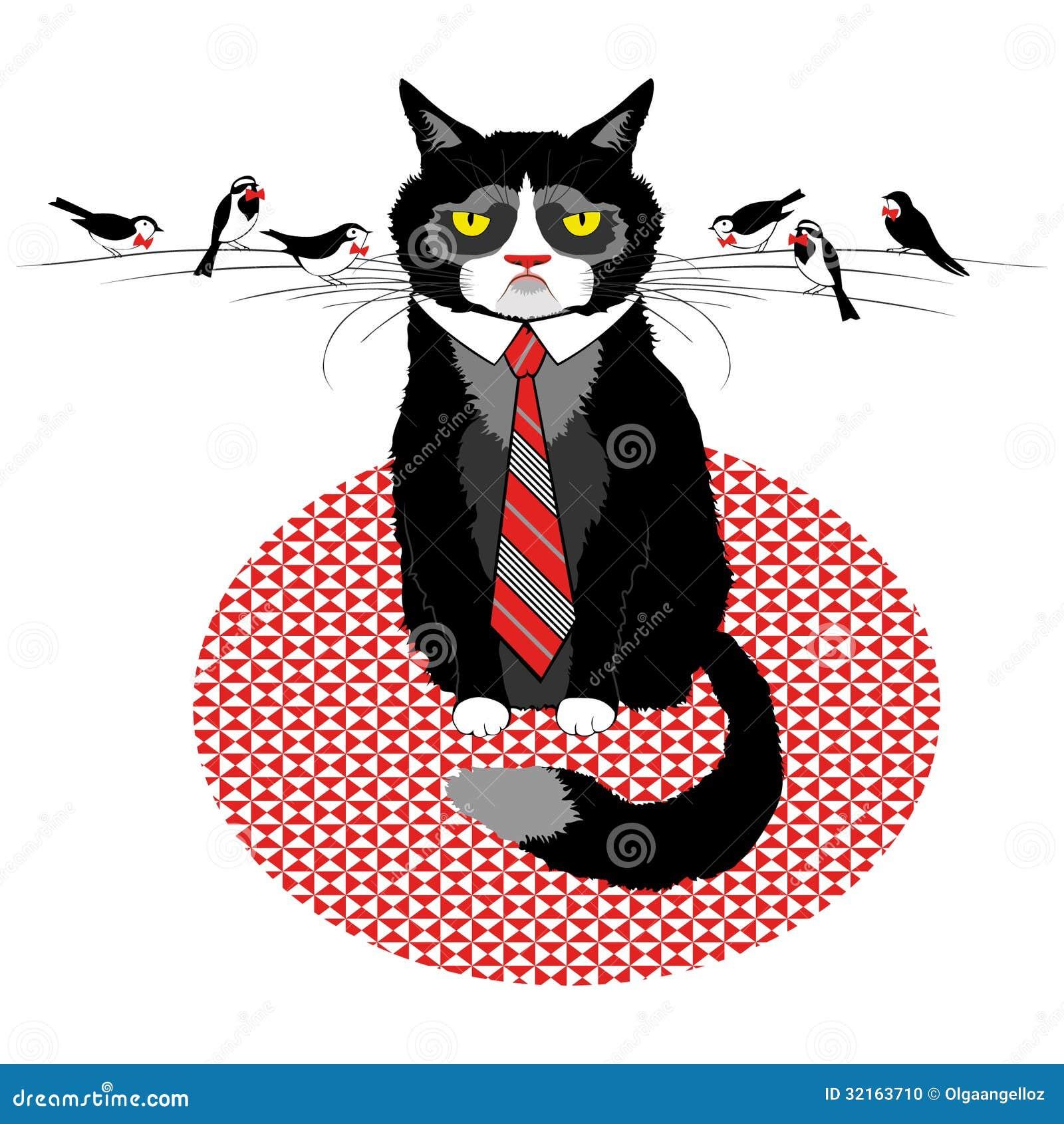 Solicitud cambio de nickname Business-cat-tie-birds-negotiation-look-vector-illustration-32163710