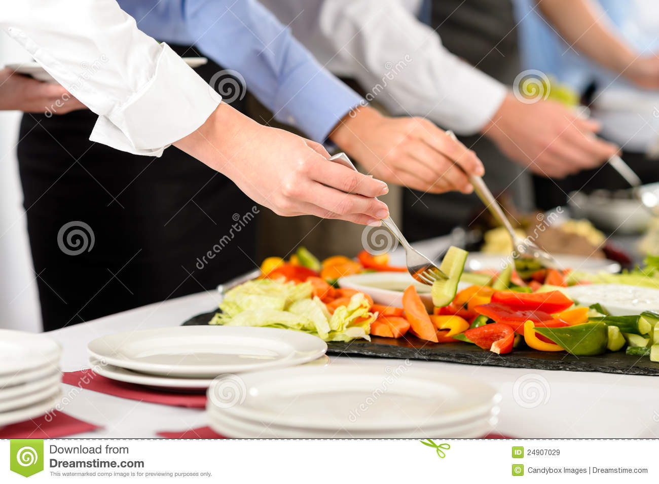 Business Catering People Take Buffet Food Stock Image