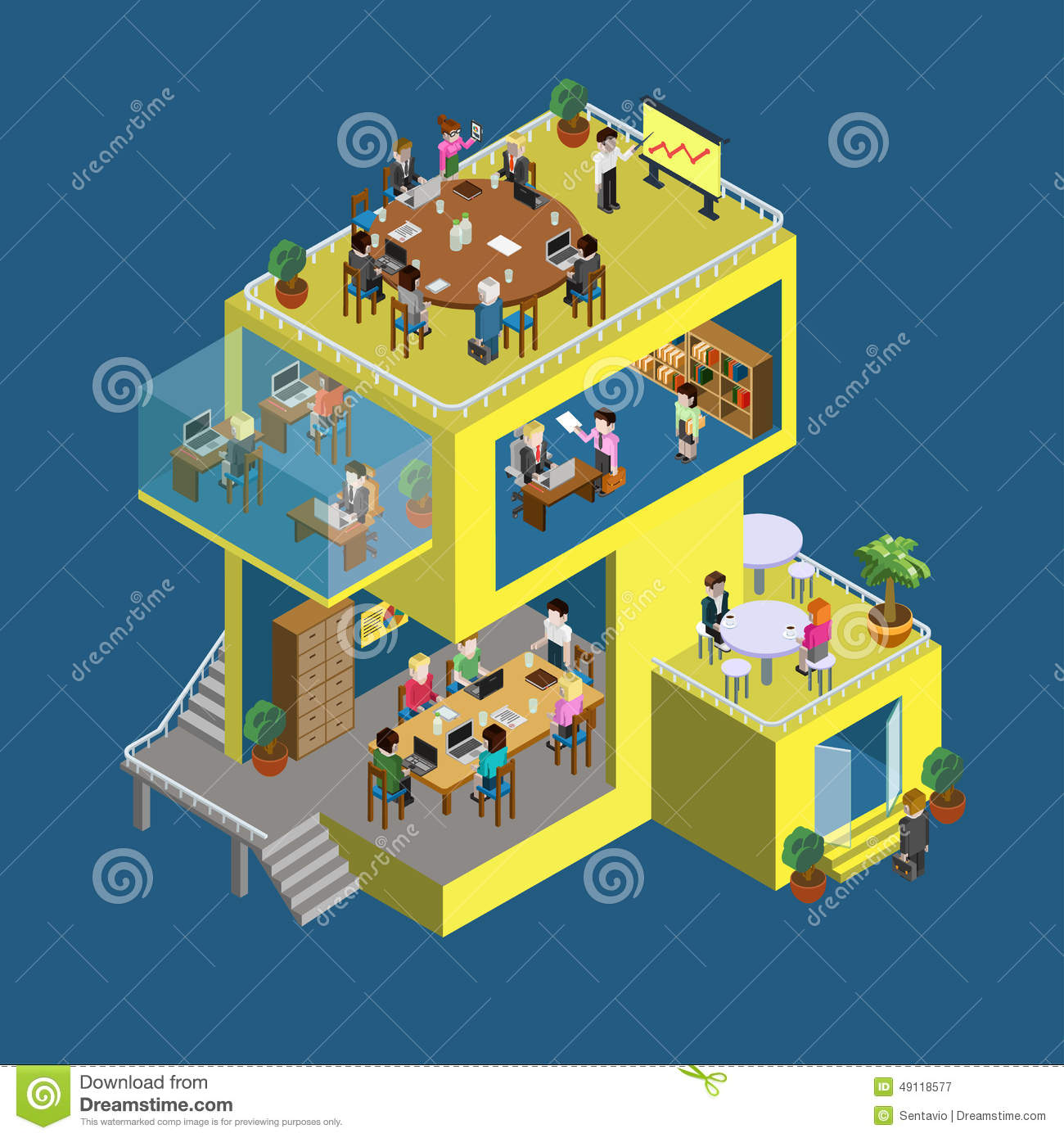 Business center building people flat 3d web isometric for Build a 3d room online free