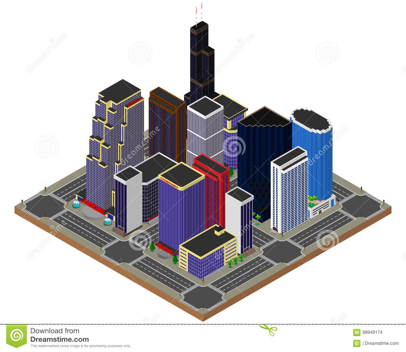 Business Center. Skyscrapers. Apartments. Stock Vector