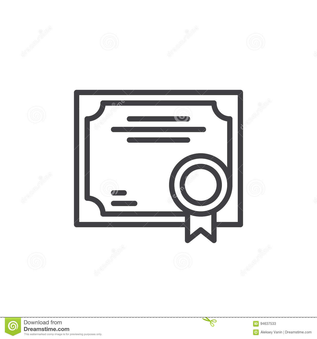 Business Certificate Line Icon Outline Vector Sign Linear Style