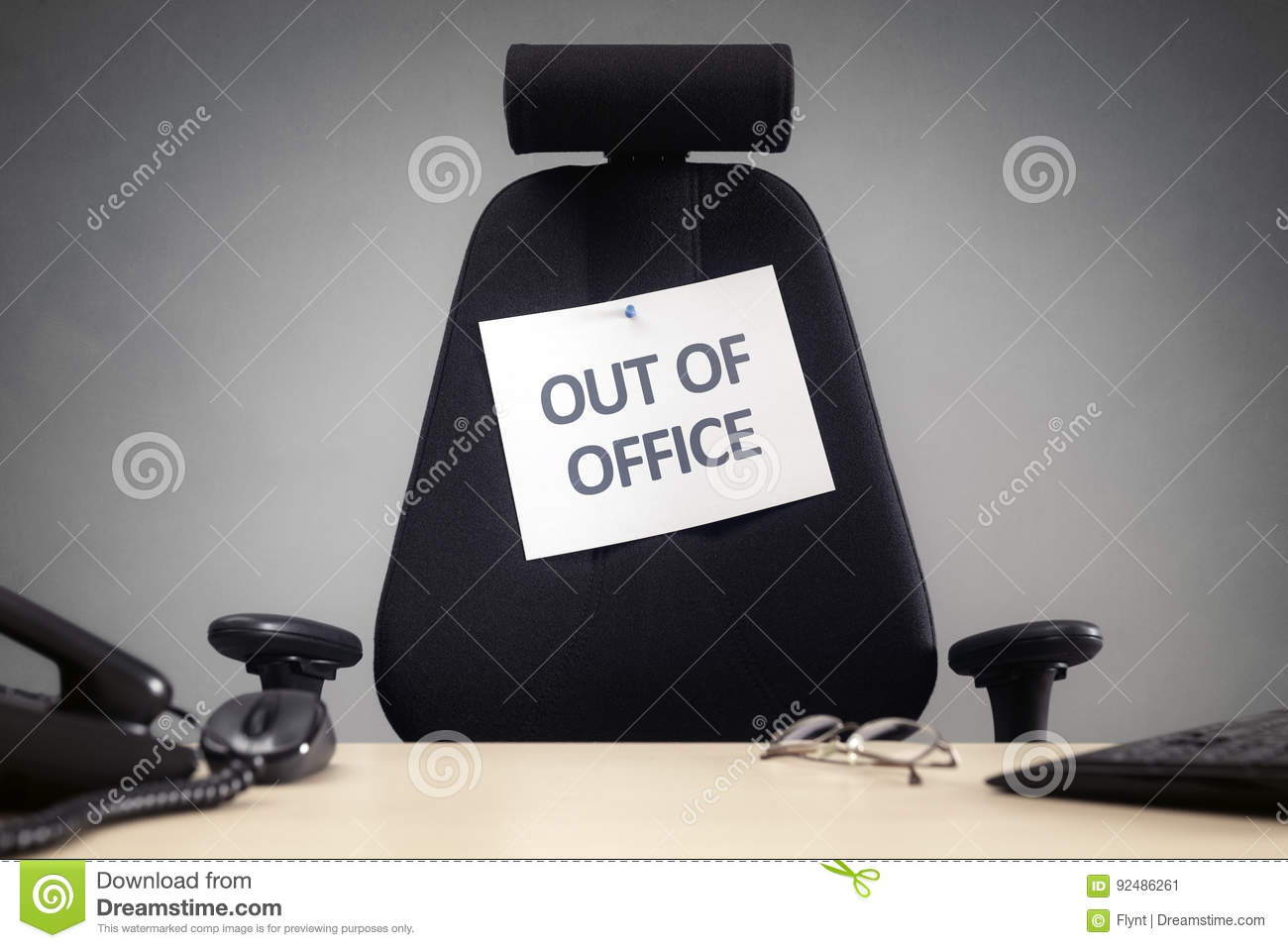 Business Chair With Out Of Office Sign Concept For Vacation Holiday Lunch Break Or Work Life Balance