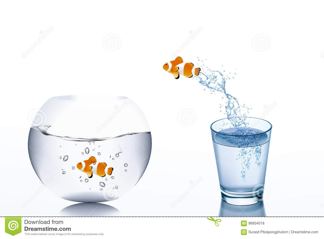 Business Challenge and Growth Concept : Goldfish escape from water in glass jumping to fishbowl.
