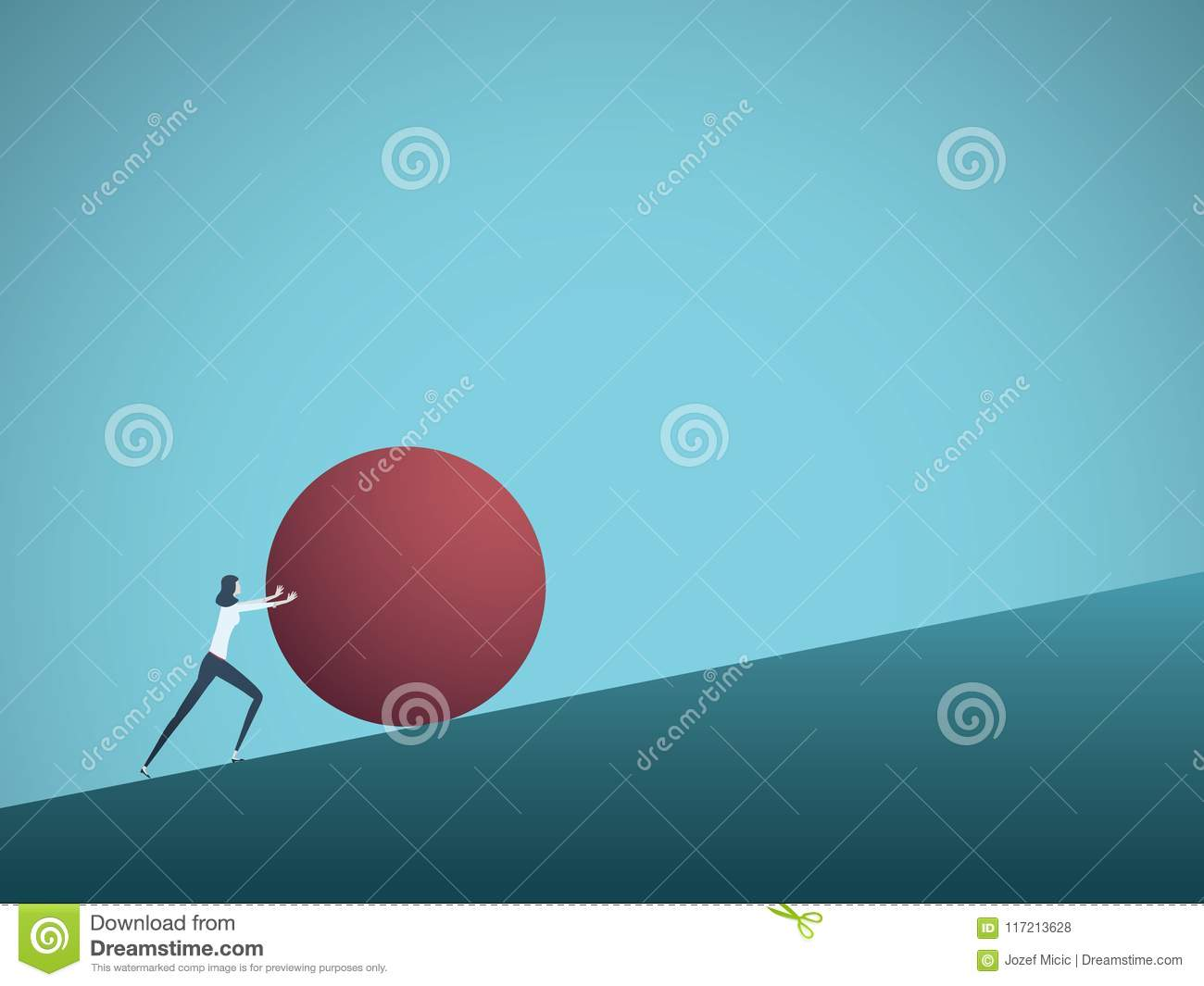 Business challenge vector concept with businesswoman as sisyphus pushing rock uphill. Symbol of difficulty, ambition