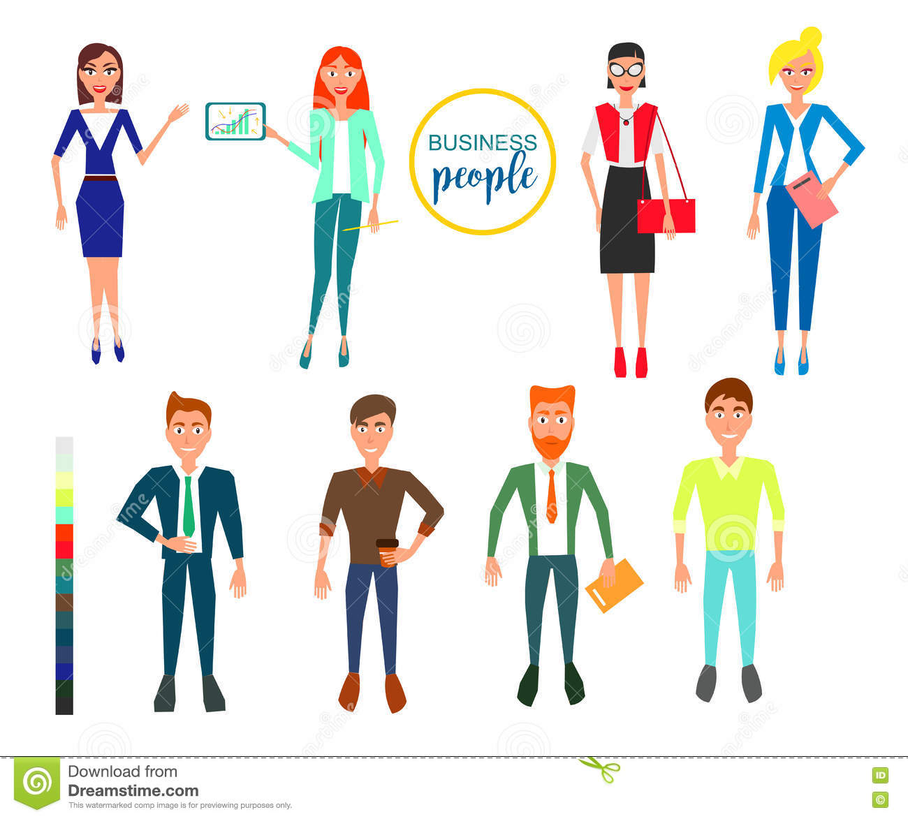 Character Design Set : Business characters design set with employees vector