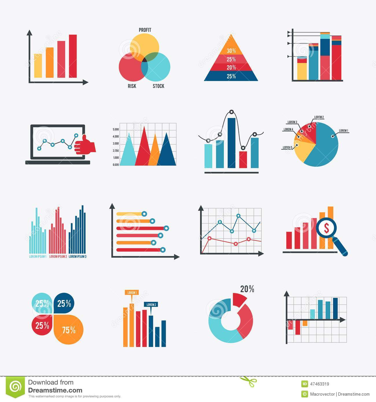 Business chart icons set flat stock vector illustration of business chart icons set flat nvjuhfo Choice Image