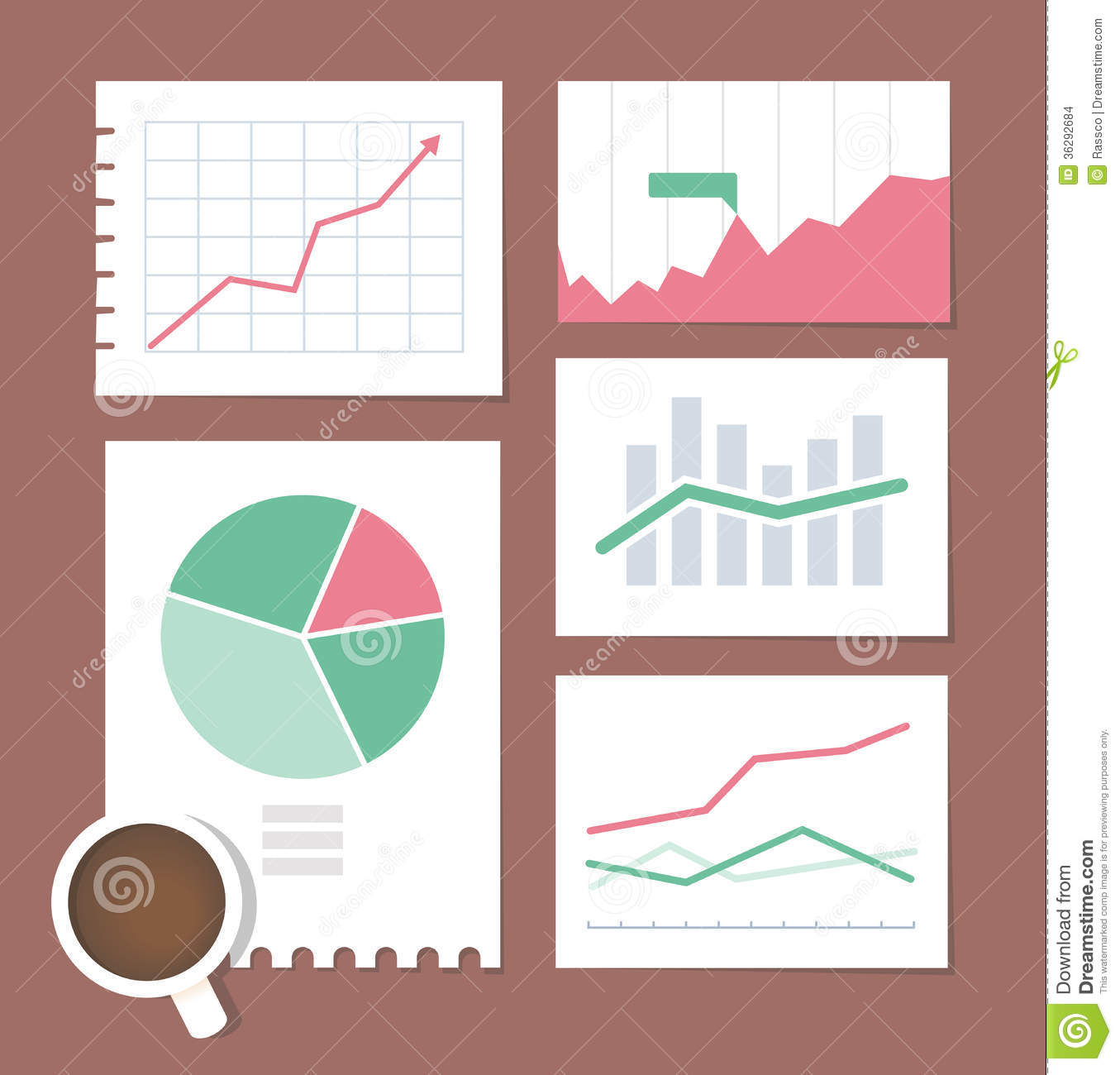 Business Chart Illustration Set Stock Vector