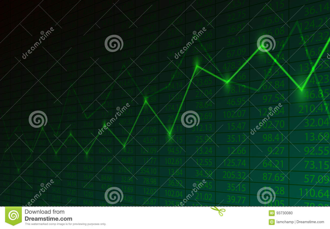 Business Chart With Uptrend Line Graph And Stock Numbers On Green ...