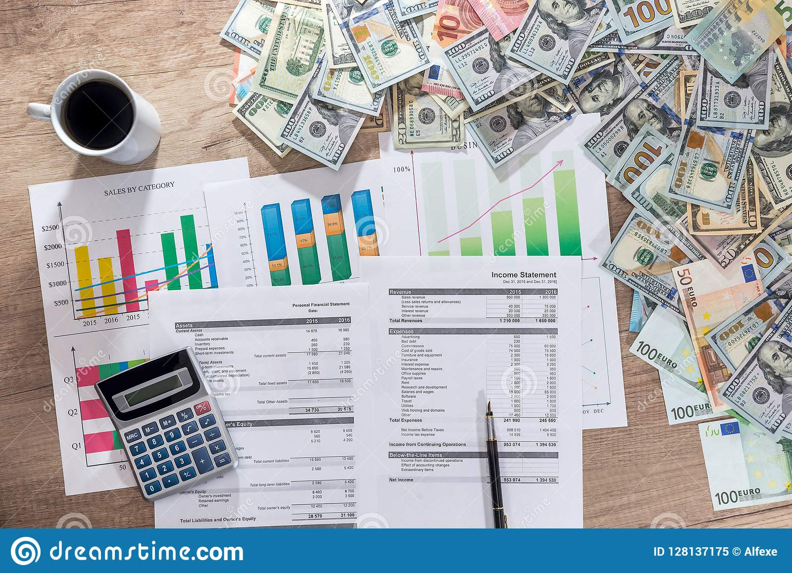 Business charts and graphs showing results of successful financial planning