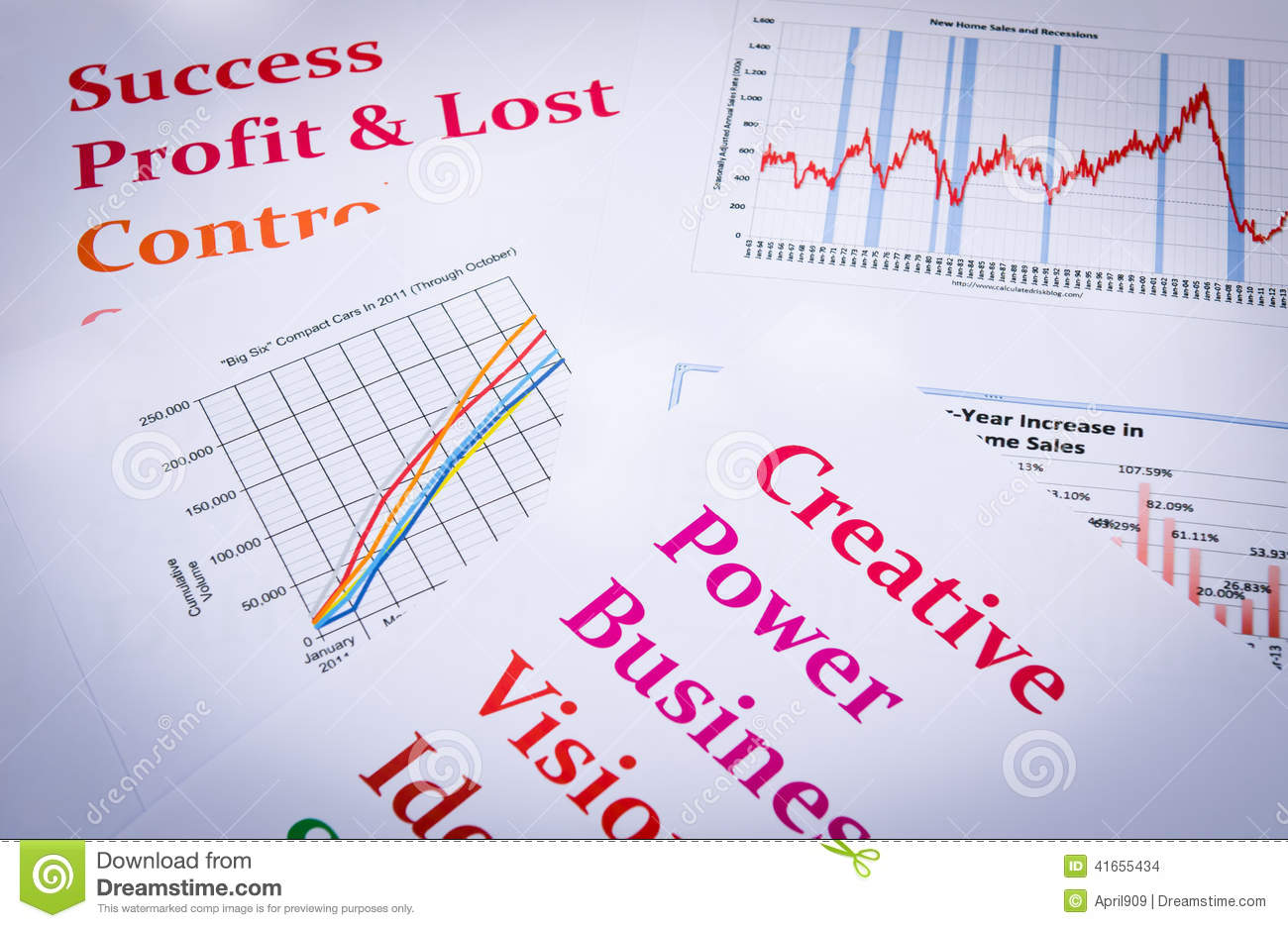 business charts and graphs with words print out stock photo image