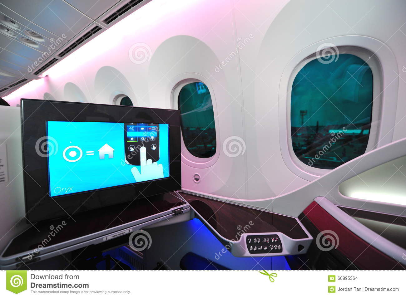 Business class seat and inflight entertainment system onboard Qatar Airways Boeing 787-8 Dreamliner at Singapore Airshow
