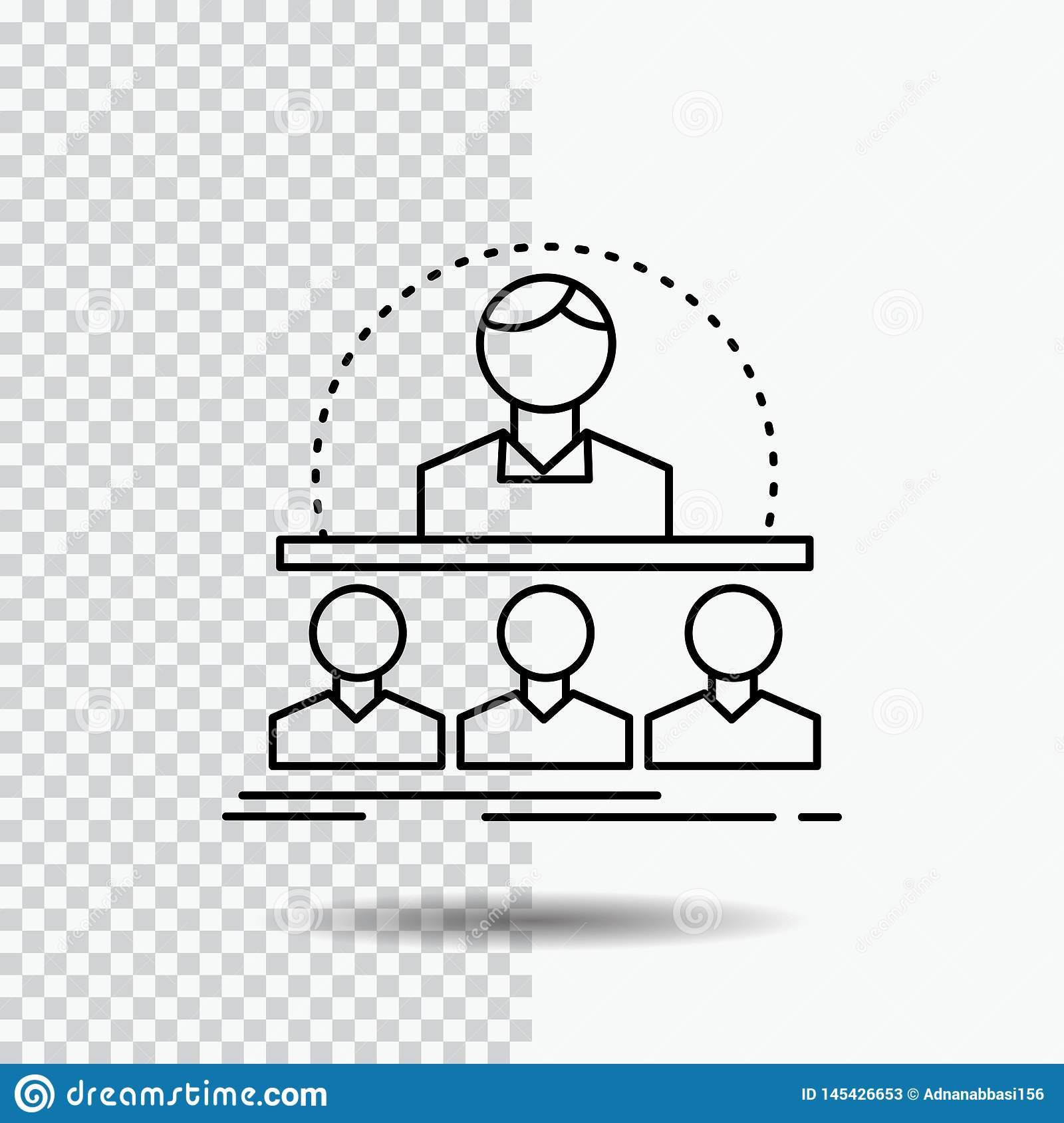Business, coach, course, instructor, mentor Line Icon on Transparent Background. Black Icon Vector Illustration
