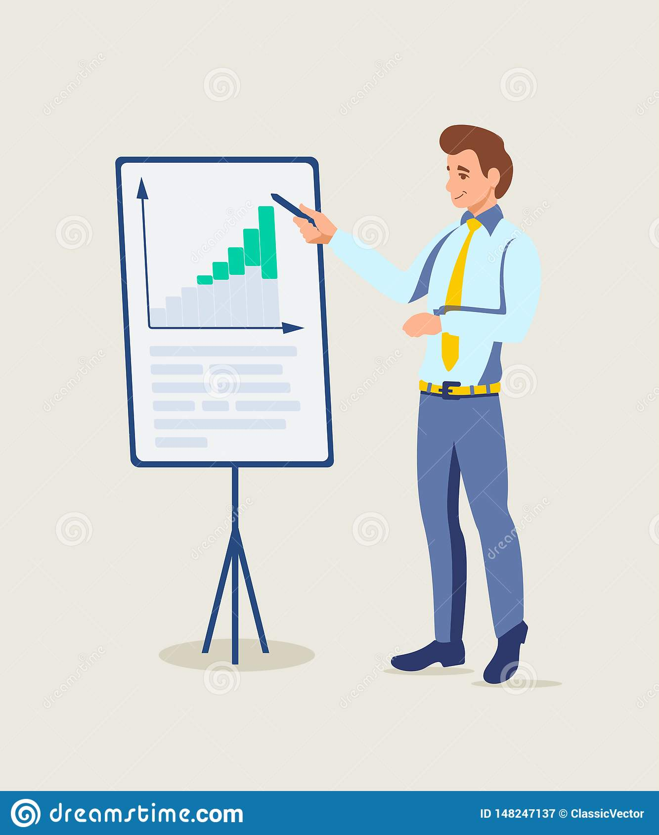 Business coach presentation vector illustration