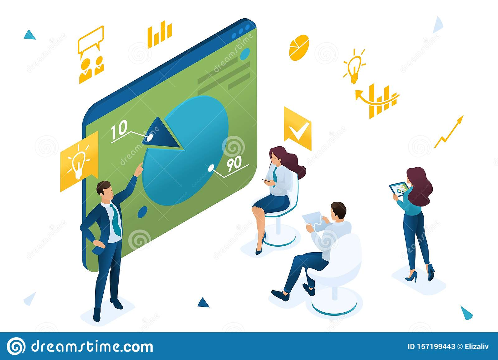 Business Coach Trains Employees Of The Company Concept Training At Work Professional Development 3d Isometric Concept For Web Stock Vector Illustration Of Flat Archive 157199443