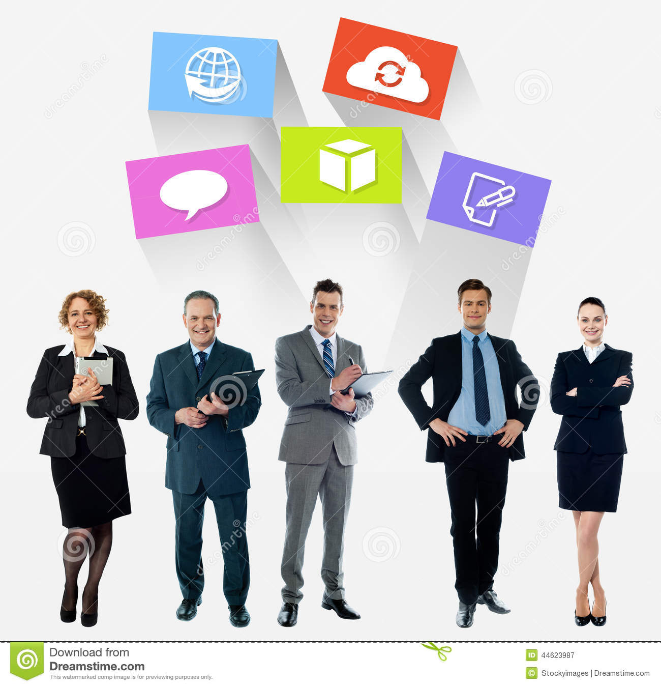 Business Collage, Latest Technology Icons Stock Image