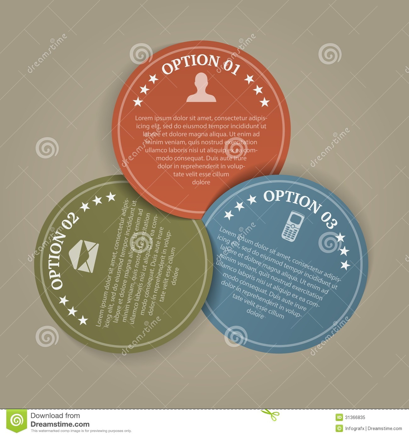 business color papers circles with 3 steps royalty free stock