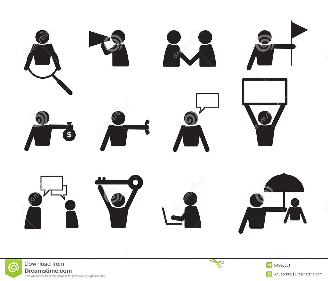 Business Commercial People Icon Set Vector Stock Vector