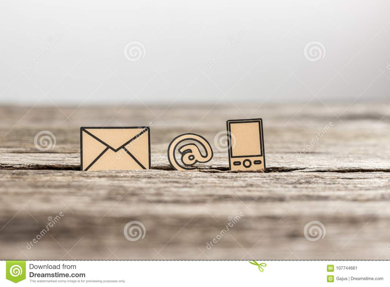 Business Communications Concept With Three Icons Stock Image