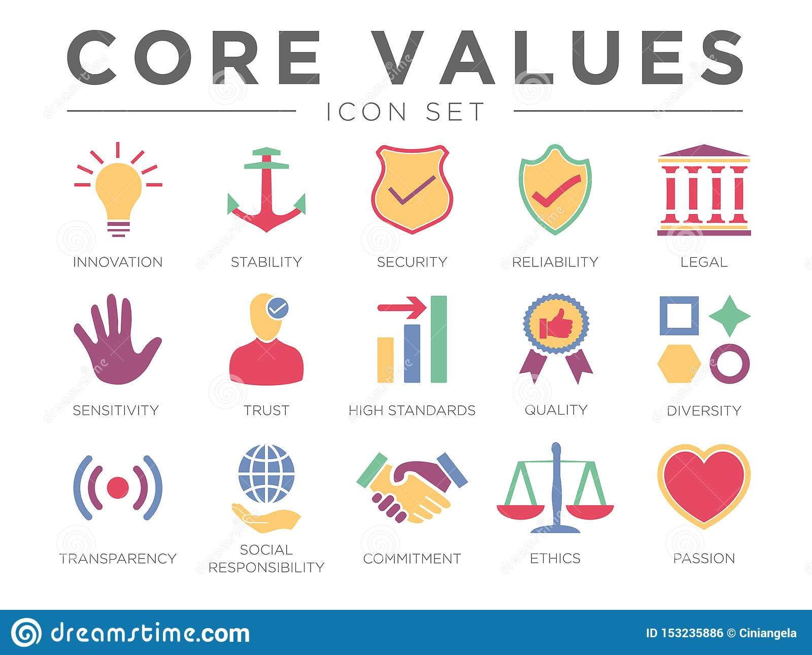 Business Company Core Values Color Icon Set. Innovation, Stability, Security, Reliability, Legal, Sensitivity, Trust, Standard,
