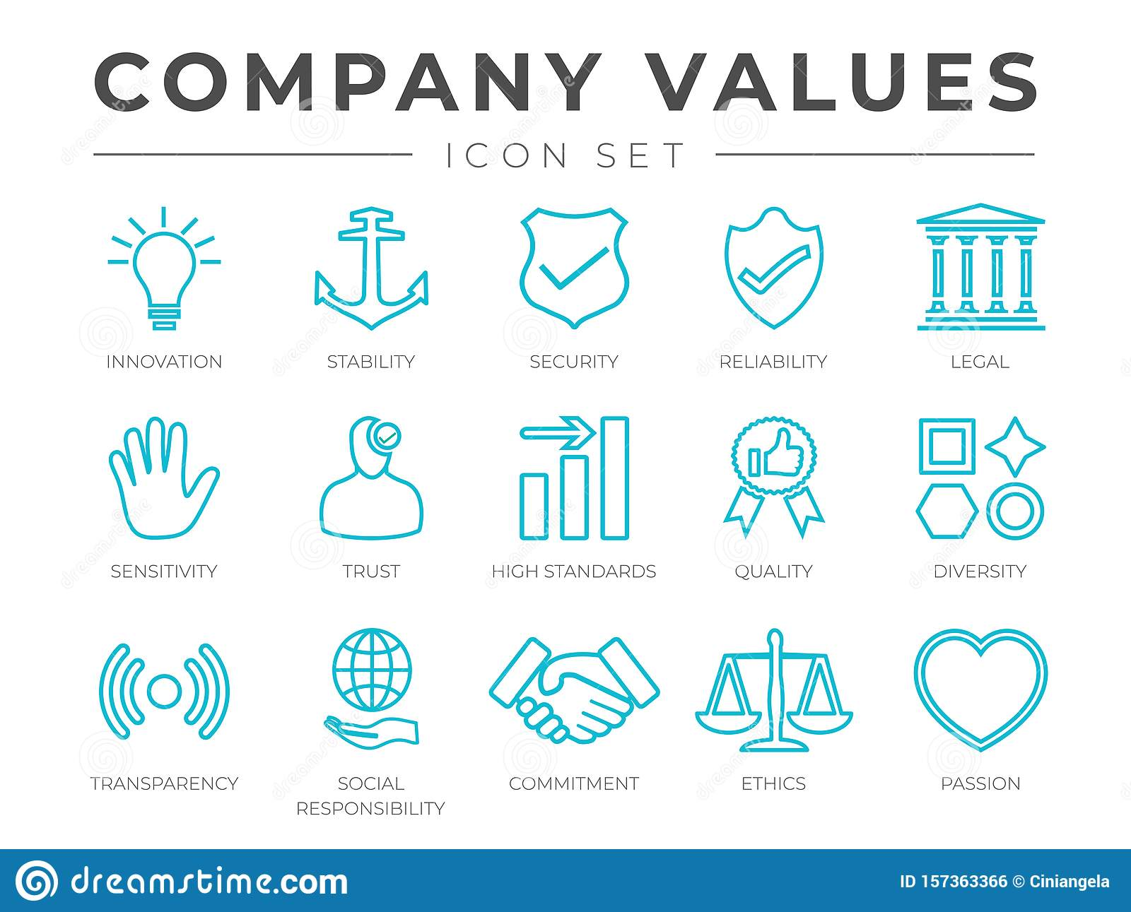 Business Company Core Values Outline Icon Set. Innovation, Stability, Security, Reliability, Legal and Sensitivity, Trust, High