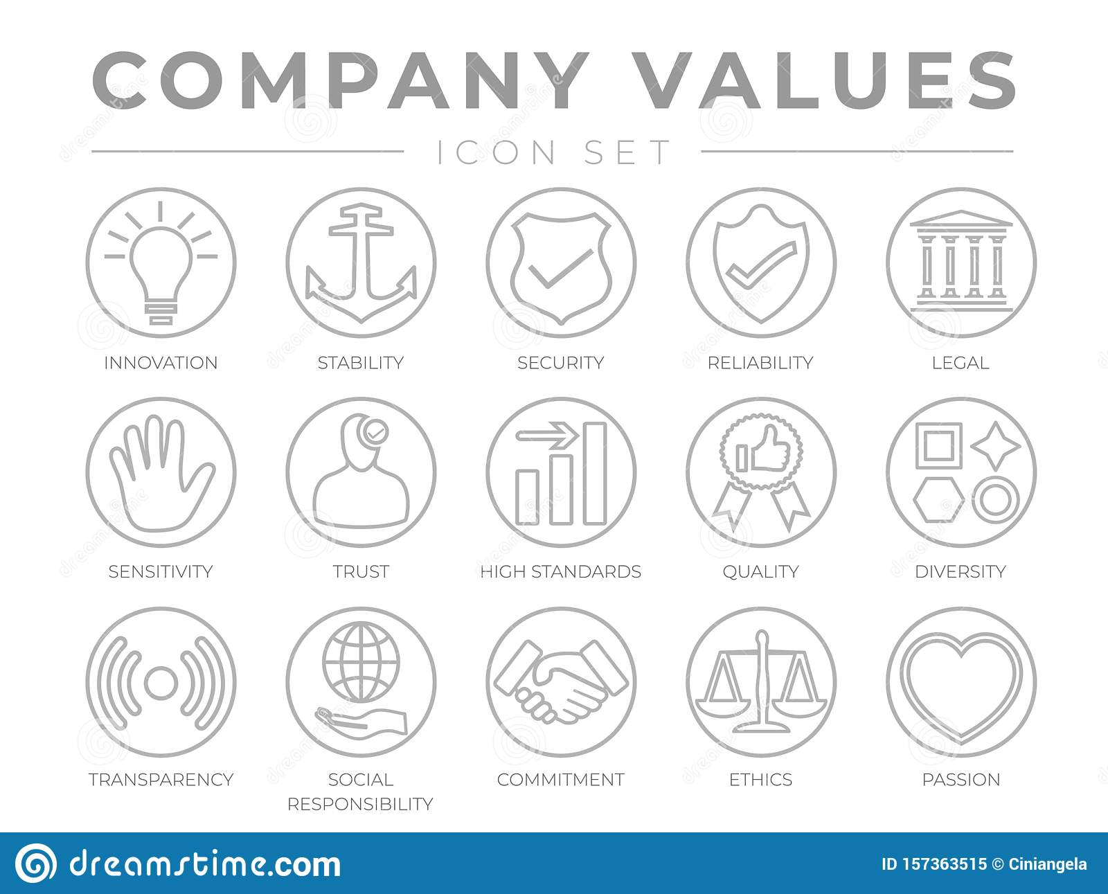 Business Company Core Values Round Outline Icon Set. Innovation, Stability, Security, Reliability, Legal and Sensitivity, Trust,
