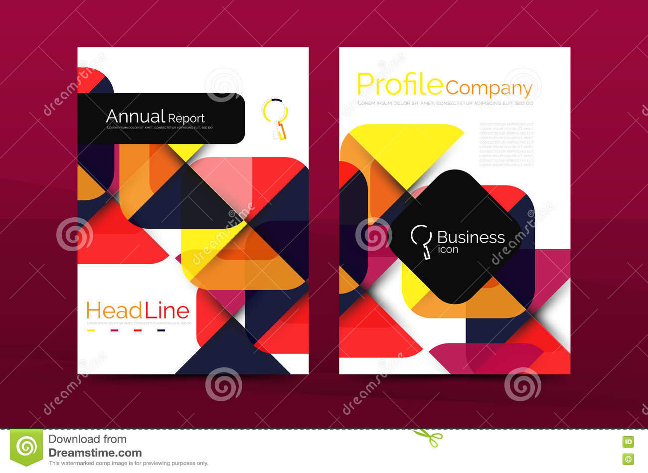 business company profile brochure template color icon royalty free vector
