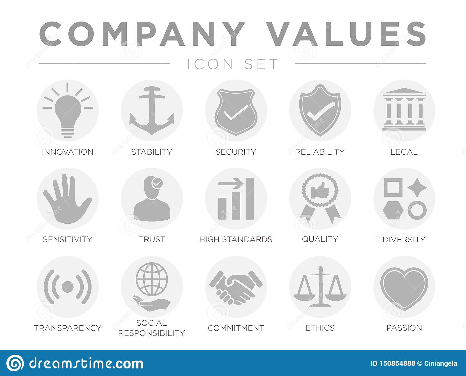Business Company Values Gray Light Icon Set. Innovation, Stability, Security, Reliability, Legal, Sensitivity, Trust, High