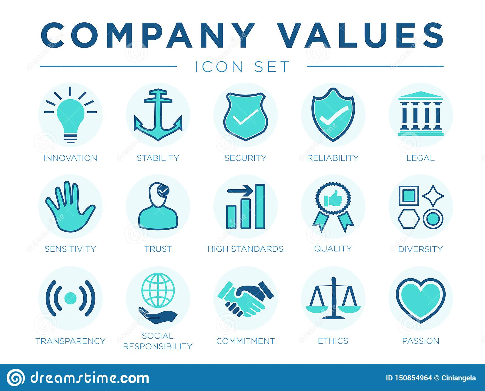 Business Company Values icon Set. Innovation, Stability, Security, Reliability, Legal, Sensitivity, Trust, High Standard, Quality