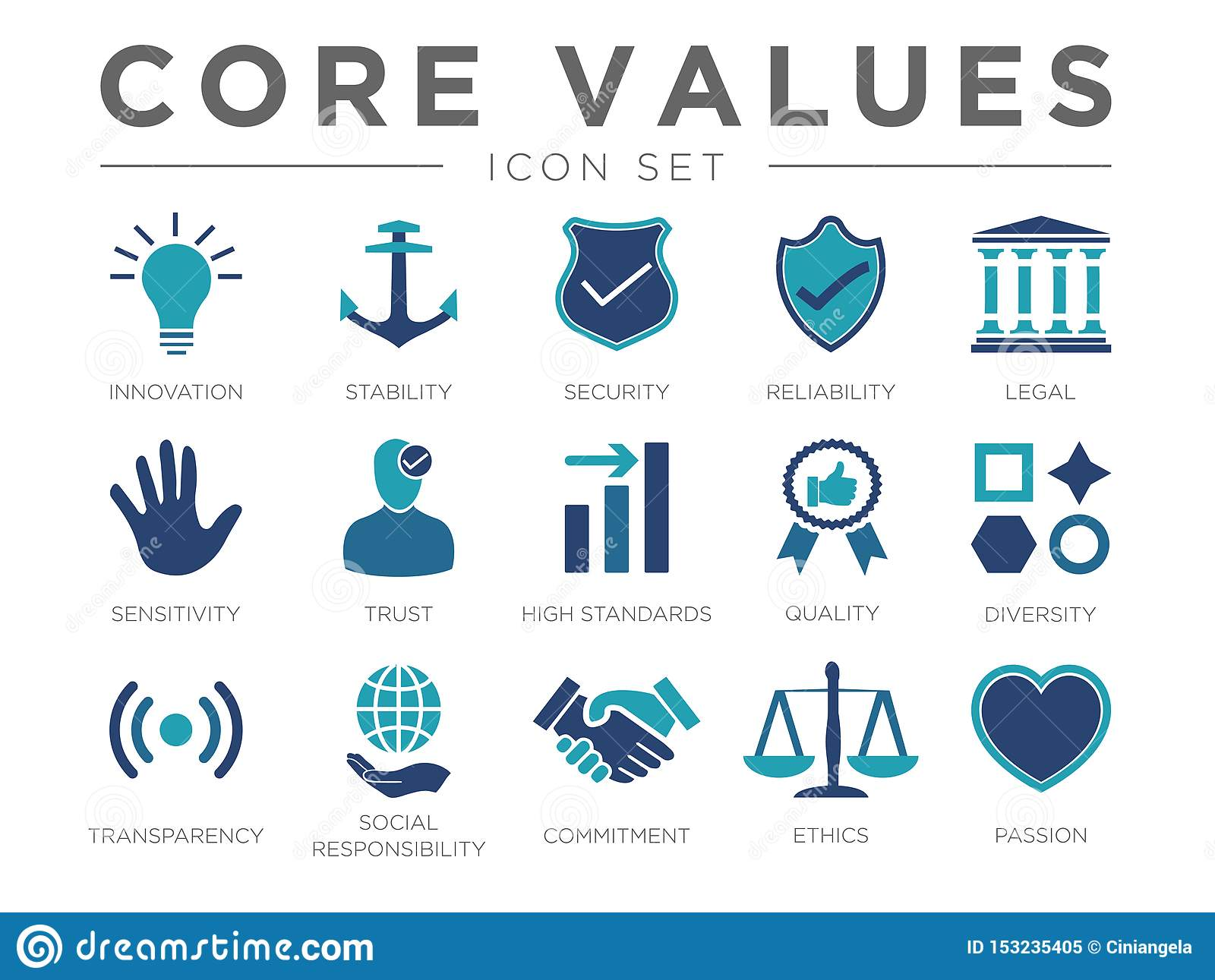 Business Company Values icon Set